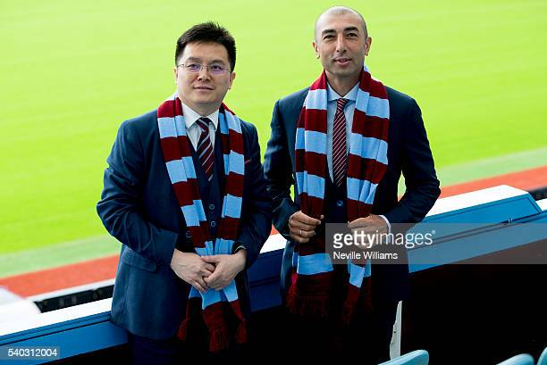 New owner and chairman Dr Tony Xia and new manager Roberto Di Matteo of Aston Villa pose for picture at Villa Park on June 15 2016 in Birmingham...