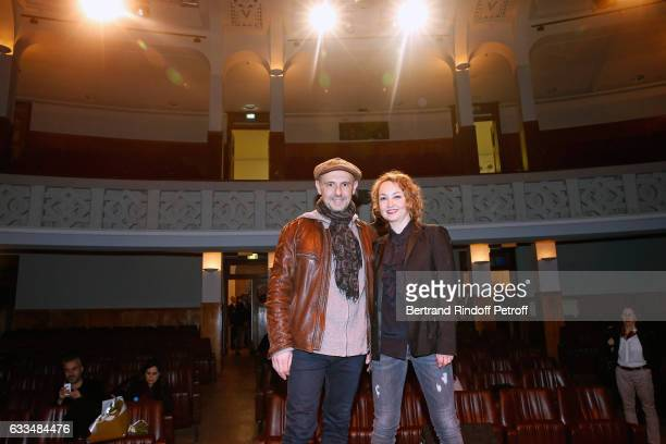 New owners of the Theatre de la Tour Eiffel Christelle Chollet and her husband Remy Caccia attend Jacqueline Franjou receives the 'Commemorative...