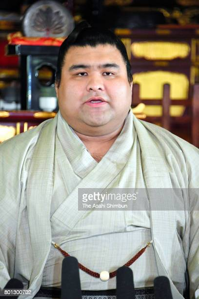 New ozeki Takayasu attends a press conference at the accommodation of Tagonoura Stable ahead of the Grand Sumo Nagoya Tournament on June 26 2017 in...