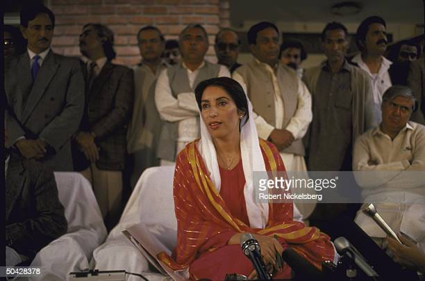 New Pakistani Prime Minister Benazir Bhutto holding a press conference after her election.