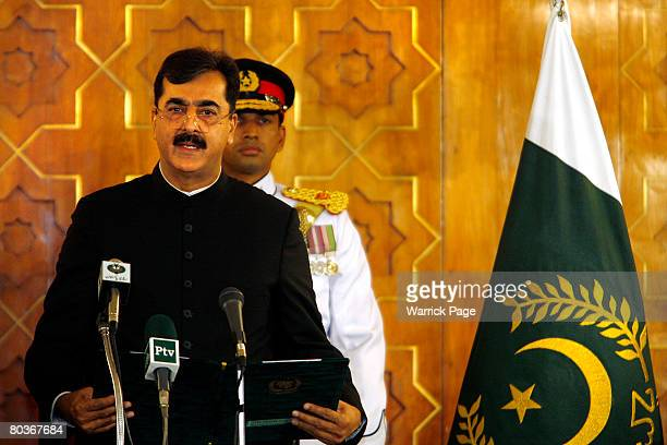 New Pakistani Prime Minister, Yusuf Raza Gillani, takes the oath of office at an official ceremony at the Presidency, on March 25 in Islamabad...