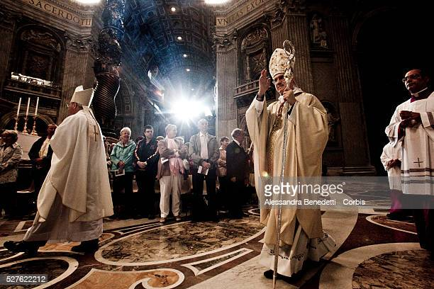 New Papal Swiss Guards attend a special service celebrated by Vatican State Secretary Cardinal Tarcisio Bertone in St. Peter's Basilica, Vatican 6...