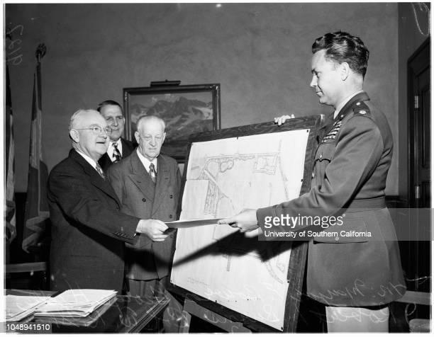 New Park Sepulveda Dam April 12 1951 Mayor Fletcher BowronGeorge Hjelte Robert L Burns Colonel W R Shuler