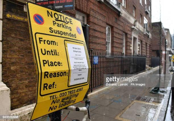 New parking restrictions have been put in place in front of the Lindo Wing of St Mary's Hospital in Paddington west London where the Duchess of...