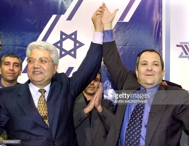 New partners for the 17 May 1999 Israeli elections under the name One Israel Labour party leader Ehud Barak and Gesher party leader David Levy...