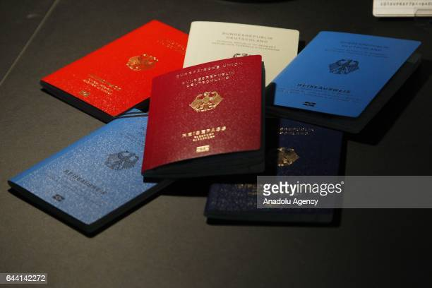 New passport of the Germany is displayed during its presentation in the Ministry of interior in Berlin Germany on Februar 23 2017