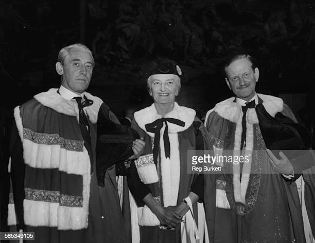 New peer Baroness Ravensdale with her sponsors Lord Christopher Birdwood and Lord Colyton Henry Hopkinson as they take their seats in the House of...