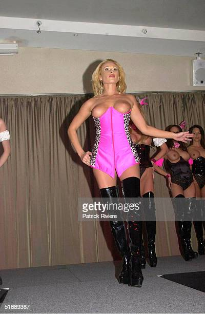 SEPTEMBER 2001 New Penthouse Pet of the Year Natasha Brock performs at the L'Aqua restaurant at Darling Harbour Sydney Australia