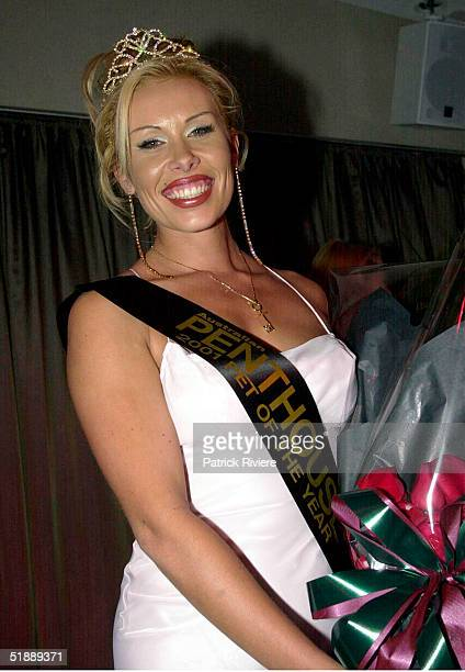 SEPTEMBER 2001 New Penthouse Pet of the Year Natasha Brock recieves her crown at the L'Aqua restaurant at Darling Harbour Sydney Australia