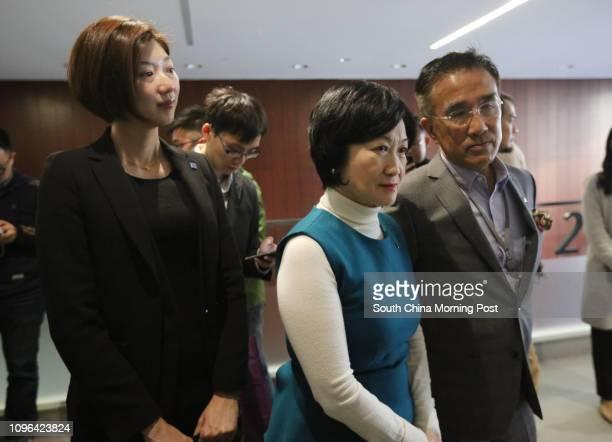 New People's Party LegCo members Eunice Yung Hoiyan Regina Ip Lau Sukyee and Michael Tien Puksun meet the media after Chief Executive Leung Chunying...