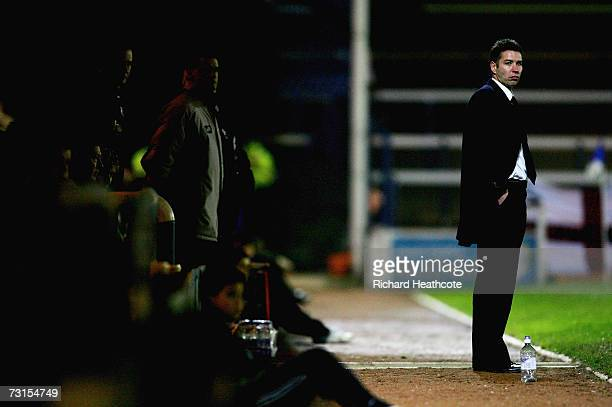 New Peterborough manager Darren Ferguson watches from the sidelines during the Coca-Cola Football League Two match between Peterborough United and...
