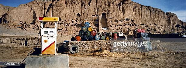 A new petrol station in May 2003 in Bamyan Afghanistan in front of the former site of the Bamyan Buddhas which was dynamited and destroyed by the...