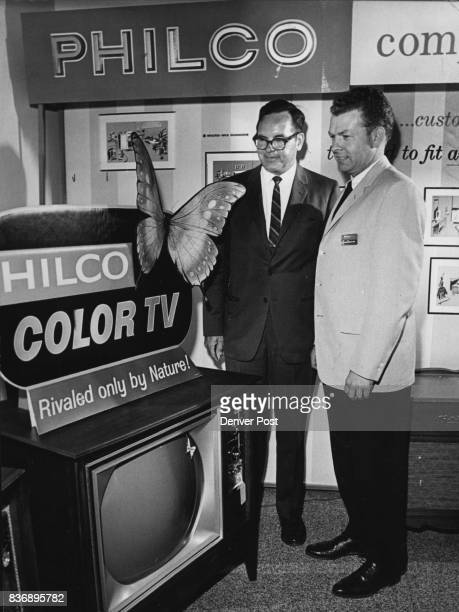 New Philcos on View Viewing the 1965 Philco color TV at an open house Monday are Robert Myers left of Los Angeles Calif the regional service manager...