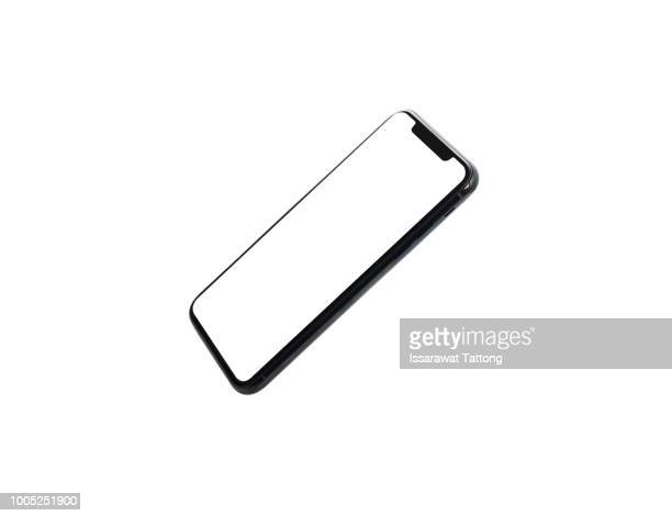 new phone front isolated on white background - smartphone stock pictures, royalty-free photos & images