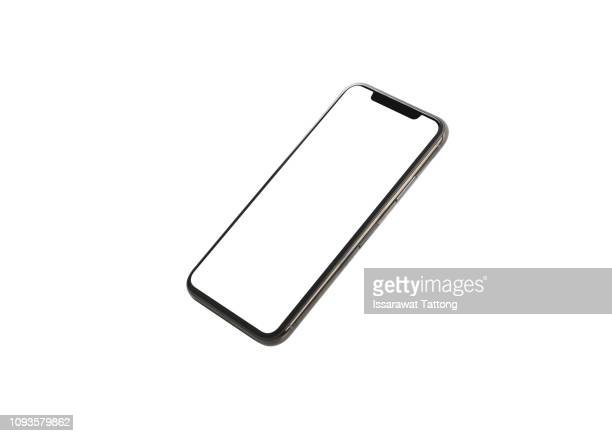 new phone front isolated on white background - smart phone stock pictures, royalty-free photos & images