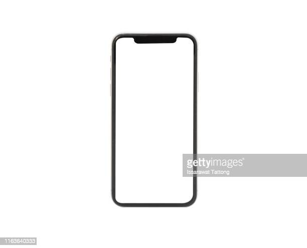 new phone front isolated on white background - iphone screen stock pictures, royalty-free photos & images