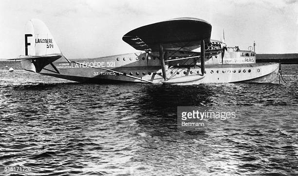 A new picture of the 40ton French flying boat Lieutenant de Vaisseau Paris the world's largest seaplane which is scheduled to make survey flights...