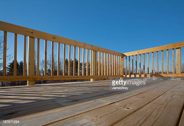 New Pine Wood Lumber Patio Deck Surface with Railing, Shadow