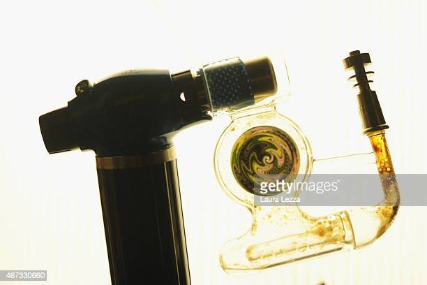 A new pipe called 'Auto Piloit' for butan hashish oil is displayed during the 12th 'Spannabis' Cannabis Fair on March 22 2015 in Barcelona Spain...
