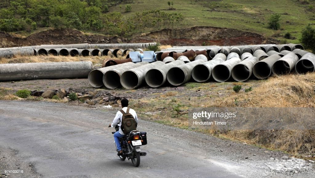 A new pipe store at Bhama Asakhed Dam near Khed, on June 13, 2018 in Pune, India.