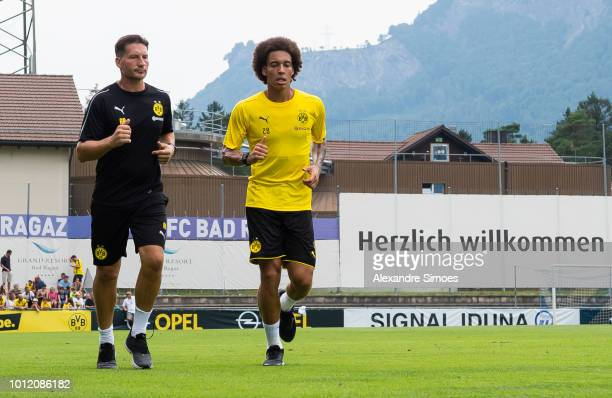 New player Axel Witsel of Borussia Dortmund with Athletik coach Andreas Beck during Borussia Dortmund's training camp on August 6 2018 in Bad Ragaz...