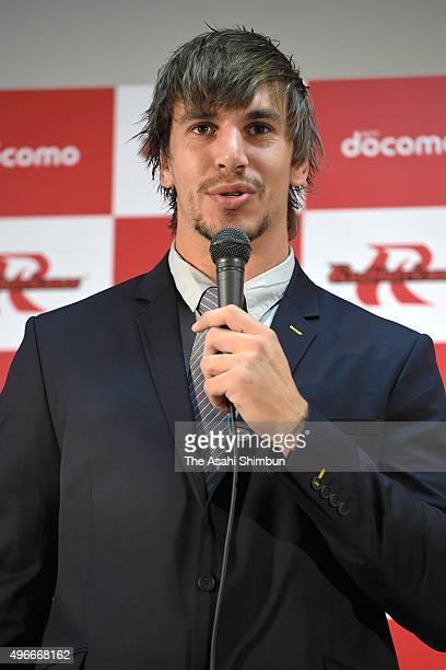 New player Eben Etzebeth of NTT DoCoMo Red Hurricanes speaks during a press conference on November 11 2015 in Osaka Japan