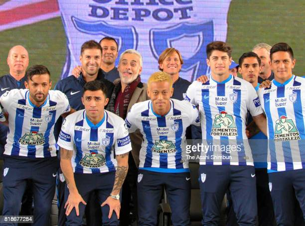 New player Keisuke Honda of Pachuca poses for photographs during a press conference to unveil Pachuca's new signings at Universidad del Futbol y...