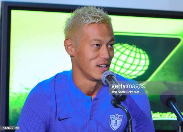 New player Keisuke Honda of Pachuca speaks during a press conference to unveil Pachuca's new signings at Universidad del Futbol y Ciencias del...