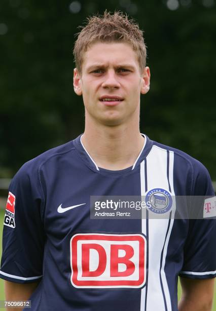 New player Lukasz Piszczek of Hertha BSC Berlin poses during the Bundesliga Team Presentation on July 6 2007 in Berlin Germany