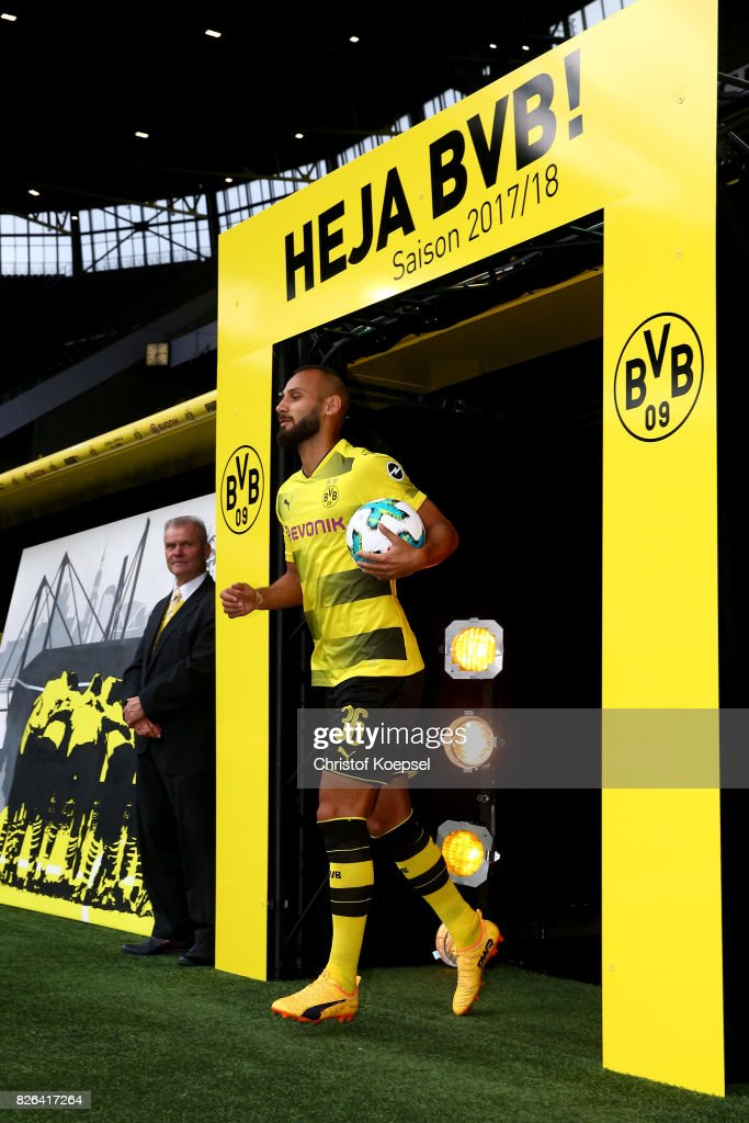 New player Oemer Toprak welcomes the fans during the Borussia Dortmund Season Opening 2017/18 at Signal Iduna Park on August 4, 2017 in Dortmund, Germany.