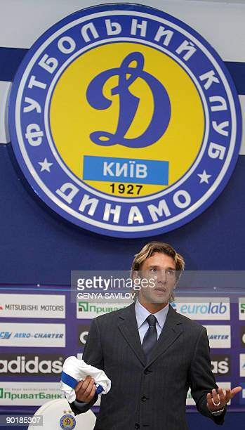 New player of FC Dynamo Kiev Ukrainian Andriy Shevchenko speaks to the media during his presentation at Valeriy Lobanovsky stadium in Kiev on August...