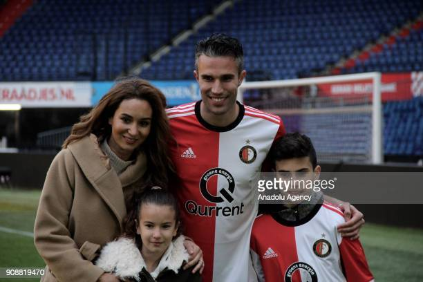 New player of Feyenoord Robin van Persie his wife Bouchra van Persie children Shaqueel Van persie and Dina Layla van Persie pose as he is presented...