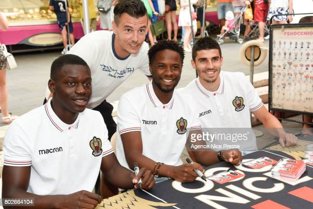 New players Jean Victor Makengo Adrien Tameze and Pierre Lees Melou of Nice with fans during fan's meeting with new players of OGC Nice on June 28...