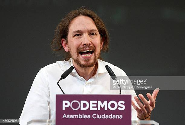 New Podemos Party leader Pablo Iglesias speaks during a meeting to announce the elected Podemos Party members at Nuevo Apolo Theatre on November 15...