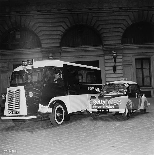 New Police Car And Van A Renault 4Cv And A Citroen Tub Type H Van On June 1954