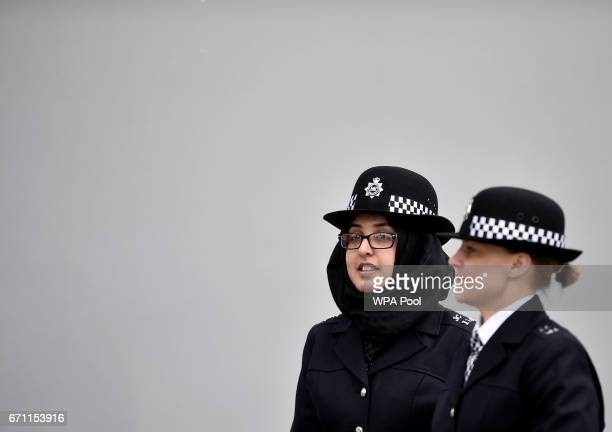 New Police recruits prepare to take part in a passingout parade at the Metropolitan Police Academy at Peel House Hendon on April 21 2017 in London...