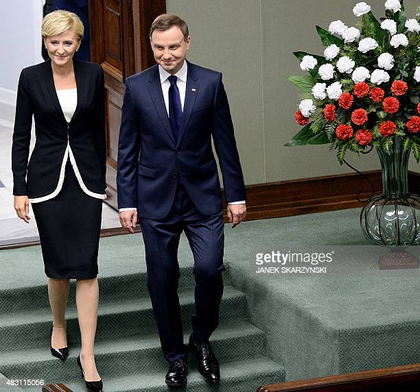 New Polish President Andrzej Duda arrives with his wife Agata for the swearing in at the parliament on August 6 2015 in Warsaw Andrzej Duda the...