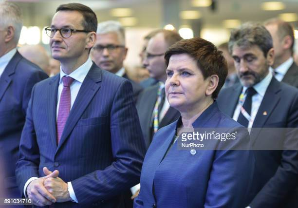 A new Polish Prime Minister Mateusz Morawiecki pictured with a former Polish Prime Minister and current Deputy Prime Minister Beata Szydlo during an...