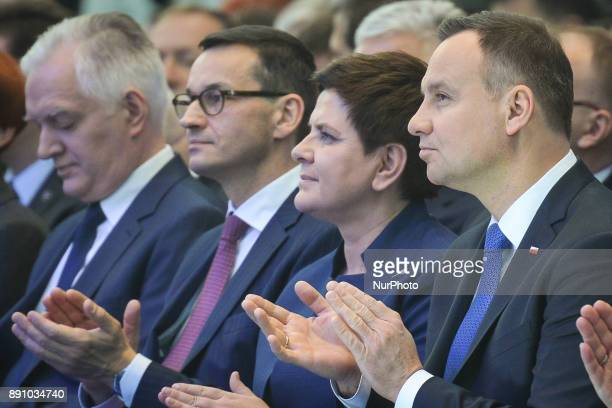 A new Polish Prime Minister Mateusz Morawiecki pictured with the Polish President Andrzej Duda the former Polish Prime Minister and current Deputy...