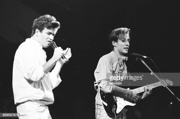 New pop sensations Wham seen here in concert in Aberdeen Scotland This was the boys first live performance 9th October 1983