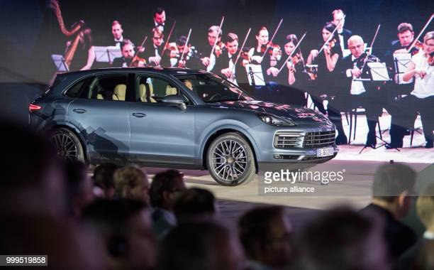 A new Porsche Cayenne is standing on the stage during the presentation of the new series in Stuttgart Germany 29 August 2017 The 3 liter Diesel...