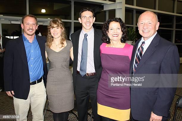 New Portland Mayor Michael Brennan right with his son Ryan Brennan left daughterinlaw Daniella Swenton son Travis Brennan and wife Joan Martay staff...