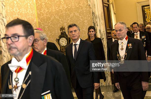 New President of Argentina Mauricio Macri and his wife Juliana Awada arrive at the Apostolic Palace for an audience with Pope Francis on February 27...
