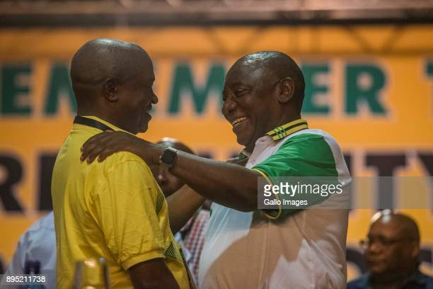 New president of the ANC Cyril Ramaphosa and deputy president DD Mabuza during the announcement of new party leadership at the 5th African National...