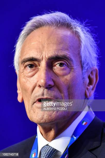 New President of the Italian Football Federation Gabriele Gravina delivers a speech following the vote during the elective assembly of the FIGC on...