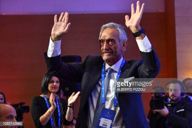 New President of the Italian Football Federation Gabriele Gravina celebrates following the vote during the elective assembly of the FIGC on October...