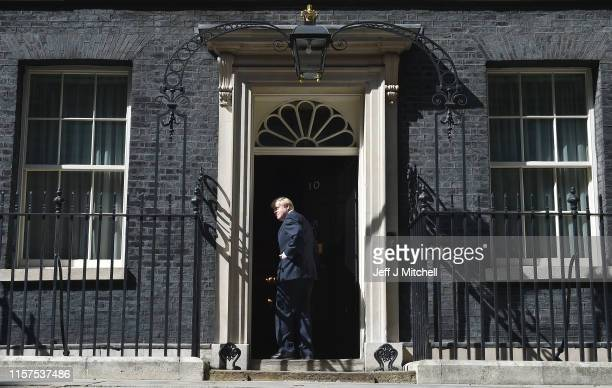 New Prime Minister Boris Johnson enters Number 10 Downing Street after speaking to the media on July 24 2019 in London England Boris Johnson MP for...