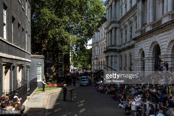 New Prime Minister Boris Johnson speaks to media outside Number 10, Downing Street on July 24, 2019 in London, England. Boris Johnson, MP for...