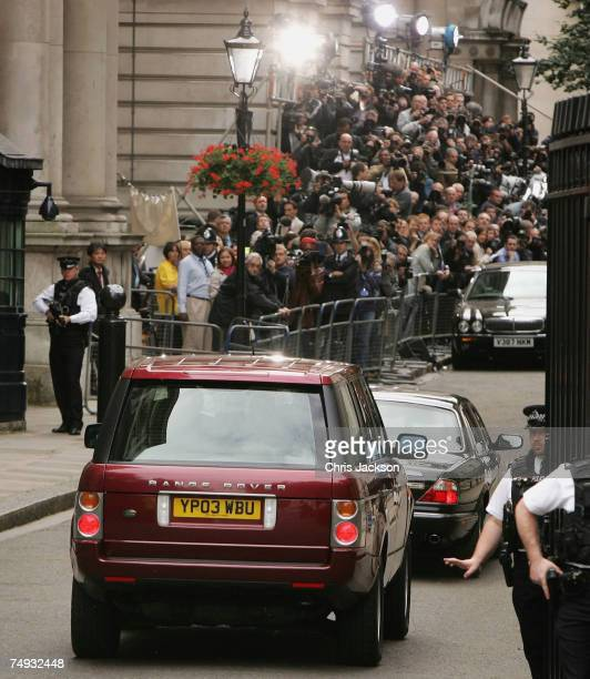 New Prime Minister Gordon Brown and his wife Sarah Brown arrive at Downing Street on Prime Minister Tony Blair's last day in office on June 27 2007...