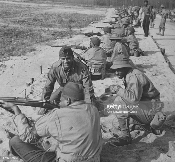 New privates enjoy the shooting drill at Aberdeen Proving Ground Aberdeen Maryland November 28 1942